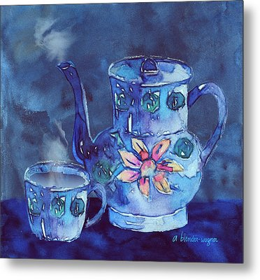 The Blue Teapot Metal Print by Arline Wagner