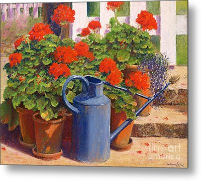 The Blue Watering Can Metal Print