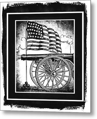 The Bombs Bursting In Air Bw Metal Print by Angelina Vick