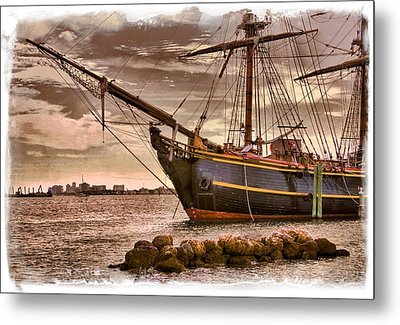 The Bow Of The Hms Bounty Metal Print by Debra and Dave Vanderlaan