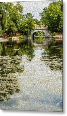 The Bridge On The Pond. Metal Print