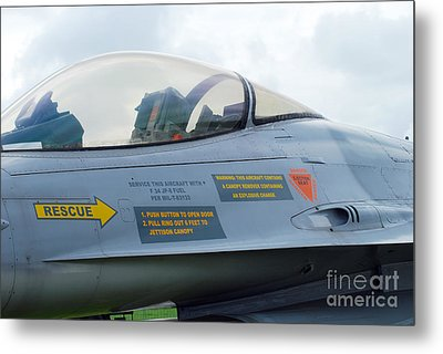 The Cockpit Of An F-16 Fighting Falcon Metal Print by Luc De Jaeger