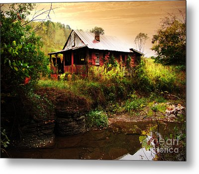 The Cottage By The Creek Metal Print by Lj Lambert