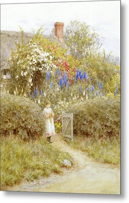 The Cottage Gate Metal Print by Helen Allingham