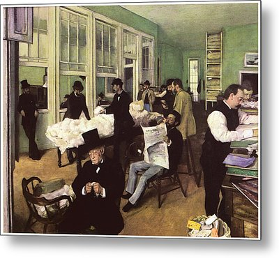 The Cotton Market In New Orleans Metal Print by Edgar Degas