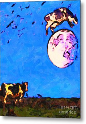 The Cow Jumped Over The Moon . Painterly Metal Print by Wingsdomain Art and Photography