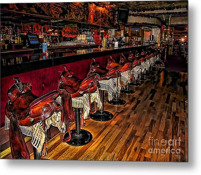 The Cowboy Bar Metal Print by Clare VanderVeen