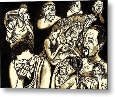 The Crying Faces Of New Orleans Metal Print by Master J Harrattan
