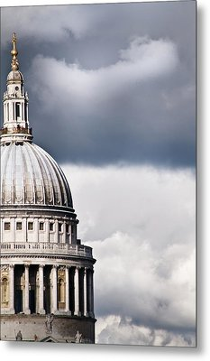 The Dome Of St Paul's Cathedral Against Stormy Sky Metal Print by Sarah Franklin www.eyeshoot.co.uk