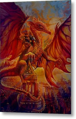 Metal Print featuring the painting The Dragon Riders by Steve Roberts