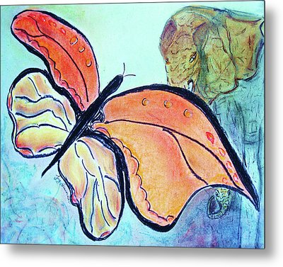 The Elephant In The Garden Metal Print by Joy Braverman