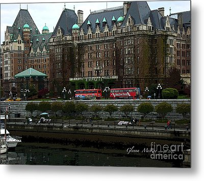 Metal Print featuring the digital art The Empress Hotel Victoria British Columbia Canada by Glenna McRae
