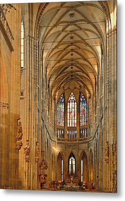 The Enormous Interior Of St. Vitus Cathedral Prague Metal Print by Christine Till