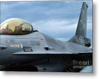 The F-16 Aircraft Of The Belgian Army Metal Print by Luc De Jaeger