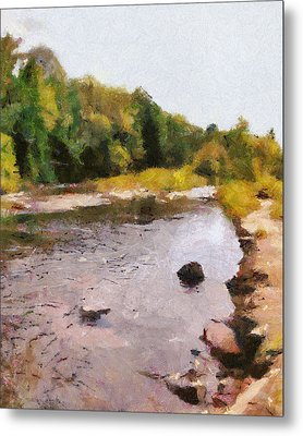 Metal Print featuring the painting The Face In The Creek by Mario Carini