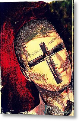 The Face Is Sowing Fertile Shadow Of The Cross Metal Print by Paulo Zerbato