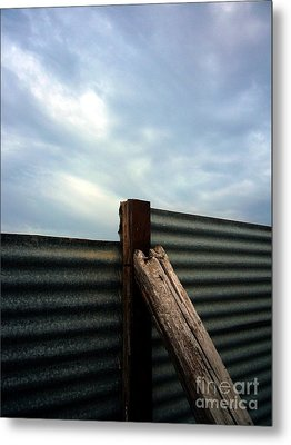 The Fence The Sky And The Beach Metal Print by Andy Prendy