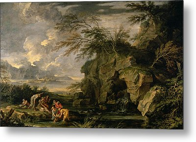 The Finding Of Moses Metal Print by Salvator Rosa