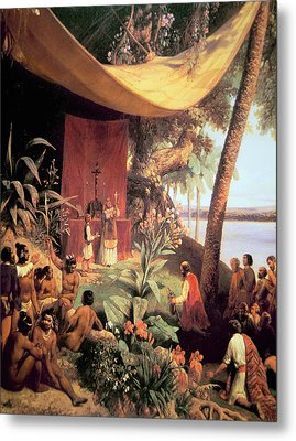 The First Mass Held In The Americas Metal Print by Pharamond Blanchard