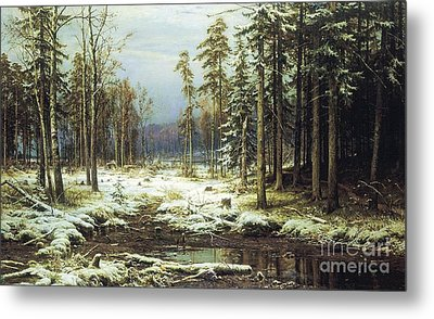 The First Snow Metal Print by Pg Reproductions