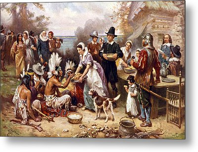 The First Thanksgiving, 1621, Pilgrims Metal Print by Everett