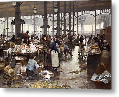 The Fish Hall At The Central Market  Metal Print by Victor Gabriel Gilbert