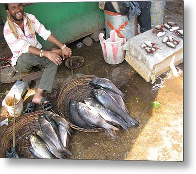 Metal Print featuring the photograph The Fish Seller by David Pantuso