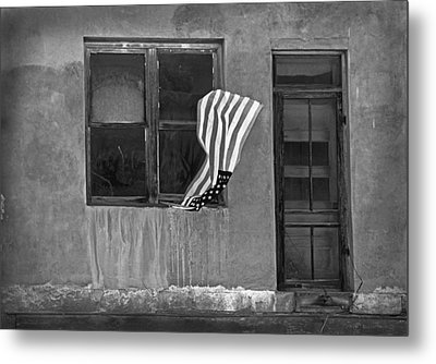 The Flag A Window And A Door Metal Print by James Steele