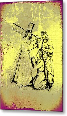 The Fourth Station Of The Cross - Jesus Meets His Mother Metal Print by Bill Cannon