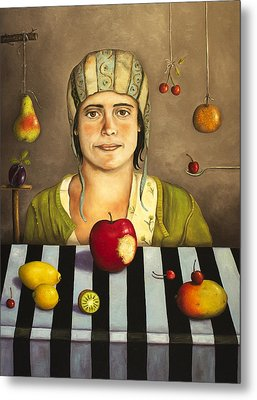 The Fruit Collector 2 Metal Print by Leah Saulnier The Painting Maniac