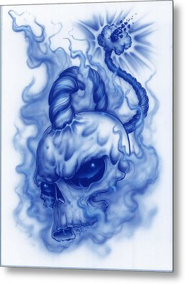 The Fuse Is Lit In Blue Metal Print by Mike Royal