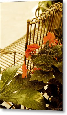 The Garden Bench Metal Print by MaryJane Armstrong