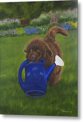 Metal Print featuring the painting The Gardening Assistant by Sharon Nummer