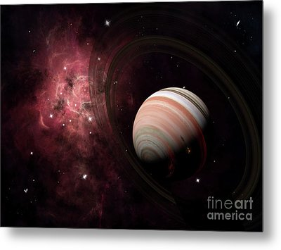 The Gas Giant Carter Orbited By Its Two Metal Print by Brian Christensen