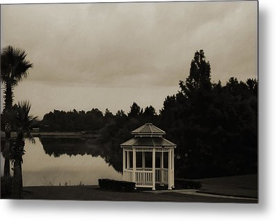 Metal Print featuring the photograph The Gazebo At The Lake by DigiArt Diaries by Vicky B Fuller