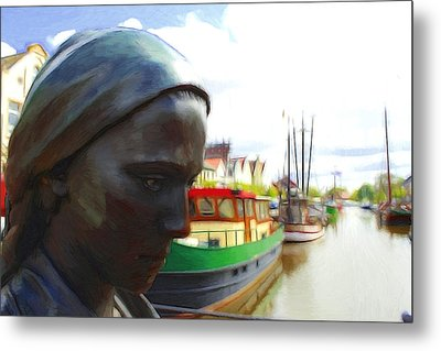 The Girl At The Harbor Metal Print by Steve K