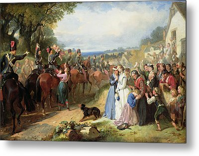 The Girls We Left Behind Us - The Departure Of The 11th Hussars For India Metal Print by Thomas Jones Barker
