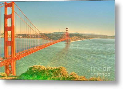 The Golden Gate Bridge  Fall Season Metal Print by Alberta Brown Buller
