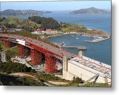 The Golden Gate Bridge North Side Overlooking Angel Island And Tiburon And Horseshoe Bay . 7d14540 Metal Print by Wingsdomain Art and Photography