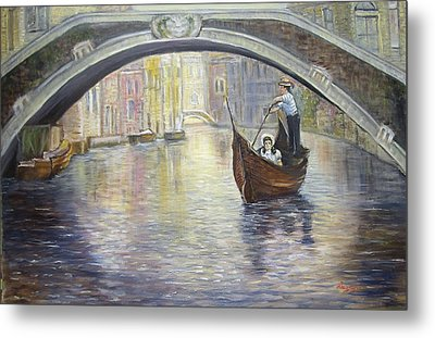 Metal Print featuring the painting The Gondolier Venice Italy by Luczay