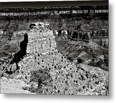 The Grand Canyon Bw Metal Print by Bob and Nadine Johnston