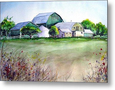 The Green Barn Metal Print by Ronald Tseng