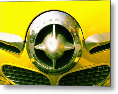 The Grill Of A Yellow Studebaker Car Metal Print by David DuChemin
