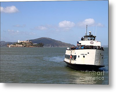 The Harbor King Ferry Boat On The San Francisco Bay With Alcatraz Island In The Distance . 7d14355 Metal Print