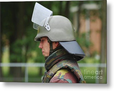 The Helmet And Visor Used Metal Print by Luc De Jaeger