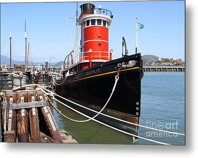 The Hercules . A 1907 Steam Tug Boat At The Hyde Street Pier In San Francisco California . 7d14137 Metal Print by Wingsdomain Art and Photography
