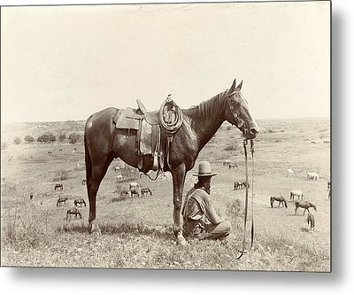 The Horse Wrangler, Photograph By Erwin Metal Print by Everett