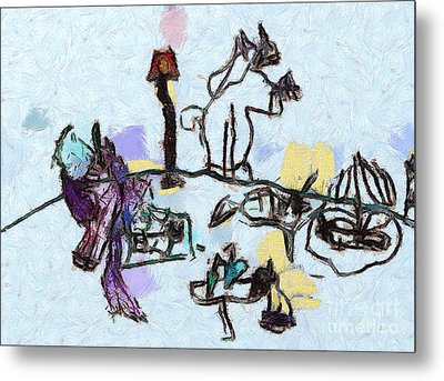 The Horses Picnic Metal Print by Odon Czintos