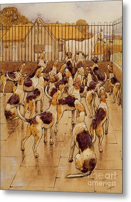 The Hounds Began Suddenly To Howl In Chorus  Metal Print by Cecil Charles Windsor Aldin