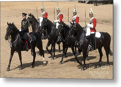 The Household Cavalry Performs Metal Print by Andrew Chittock